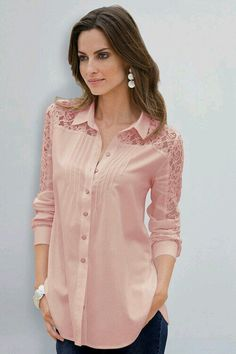 Together Lace Detail Shirt at EziBuy Australia. Buy women's, men's and kids fashion online. Fast delivery and 30 day returns. Cute Fashion, Kids Fashion, Womens Fashion, Blouse Styles, Blouse Designs, Lace Inset, Trends 2018, Pink Lace, Lace Detail