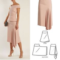 Diy dress skirt pattern makingDiscover thousands of images about Tutorial kain kipas hadapanhow to draft a sleevefrom fashion design Look Fashion, Diy Fashion, Fashion Dresses, Skirt Patterns Sewing, Clothing Patterns, Pattern Sewing, Sewing Clothes, Diy Clothes, Asymmetrical Skirt