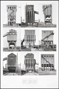 gallowhill:  Coal Bunkers,1974 byBernd Becher and Hilla Becher  Husband and wife team Bernd and Hilla Becher began photographing old industrial sites in the 1950s, and described their subjects as 'buildings where anonymity is accepted to be the style'. (…)Within a few years of completing this work, almost all of the structures had been demolished.