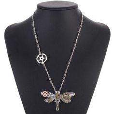 #DressLily - #Dresslily Alloy Dragonfly Circle Gear Necklace - AdoreWe.com