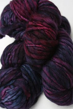 Malabrigo's Aquarella is a wonderful, bulky thick and thin hand dyed yarn in special colors available only in this bulky yarn. The yarn is really unique, and the color blends vary from hank to hank - Spinning Wool, Hand Spinning, Crochet Yarn, Knitting Yarn, Yarn Inspiration, Yarn Stash, Hand Dyed Yarn, Yarn Colors, Wool Yarn
