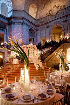 Kim and Niki Photography, San Francisco City Hall, dramatic venue, modern flowers, wedding reception, sophisticated, elegant