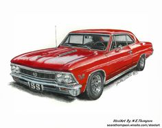 Chevelle Cherry Red, By N.Thompson, Original full color illustration, size inches sold by Steel Art By N. Shop more products from Steel Art By N.Thompson on Storenvy, the home of independent small businesses all over the world. Chevy Chevelle Ss, Car Chevrolet, Auto Girls, Custom Classic Cars, Car Drawings, Car Painting, Car Audio, Hot Cars, Concept Cars