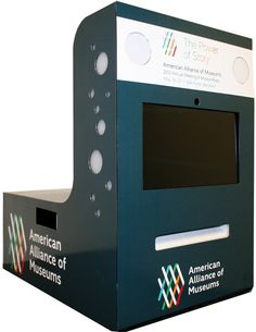 Sample custom-branded wrap for the guppyPOD™ photo booth kiosk for the American Alliance of Museums tradeshow #eventphotography #experiential #photobooth
