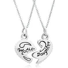 Udobuy 2 Pcs Mother Mom Daughter Heart Engraved Charms Chain Pendant... (€7,25) ❤ liked on Polyvore featuring jewelry, pendants, heart jewellery, heart charm, heart shaped pendant necklace, engravable charms and heart jewelry