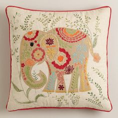 Festive Elephant Embroidered Throw Pillow. Look at that sweet eyeball! Adorable and the same colours as the studio & bedroom curtains.
