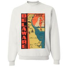 Vintage State Sticker Delaware Crewneck Sweatshirt