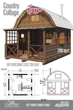 Small log cabins are the best options for a small vacation or hunting place. Small cabin kits are affordable. Small log cabins are the best options for a small vacation or hunting place. Small cabin kits are affordable. Unique Small House Plans, Small Cottage Plans, Cute Small Houses, Small Cabin Plans, Small House Floor Plans, Cottage House Plans, Cottage Homes, Backyard Cottage, Small Cabins