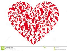 Red heart shoes, vector Stock Images