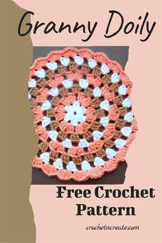 FREE round granny stitch doily pattern, find it on crochetncreate. Crochet Placemats, Crochet Doily Patterns, Crochet Doilies, Crochet Ideas, Crochet Projects, Stitch Patterns, Crotchet, Knit Crochet, Crochet Hats