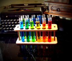 12 Test Tubes and Wooden Holder Mad Scientist by EtchedinTimeLLC, $22.00