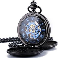 ManChDa Retro Mens Black Blue Double Open Skeleton Mechanical Roman Numerals Pocket Watch With Chain Gift: Watches
