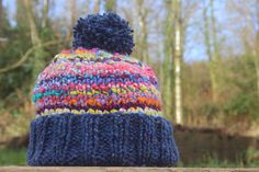 Handspun 'Gummy Worms' hand knitted beanie hat with