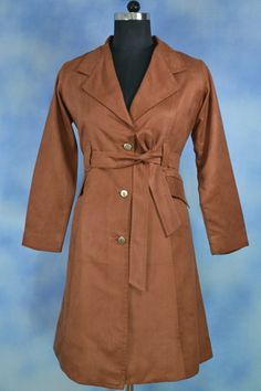 Brown Overcoat, Velvet feel over coat, Warm check lining underneath, Front open.
