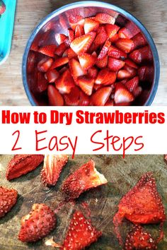 Learn how to dry strawberries in the oven! This is a frugal tip that will let you have delicious fruit throughout the year. Find them on sale, or go to a U-pick field for super fresh berries. I rehydrate these and mix it in my yogurt and granola in the mornings. via @savorandsavvy