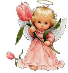 Baby angel with a rose