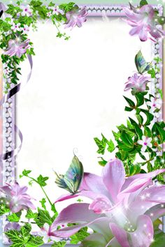 Transparent PNG Photo Frame with Pink Lilies Boarders And Frames, Cute Frames, Png Photo, Borders For Paper, Paper Frames, Pink Lily, Floral Border, Vintage Diy, Border Design