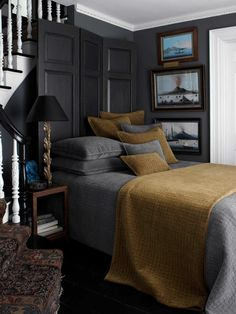 Really loving greys and golds/browns together lately. Dransfield & Ross House Network Coverlet.