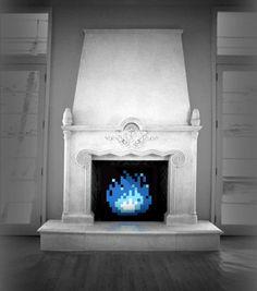 Idéal pour tous les fans de rétro le feu de cheminée 8 bit n'aura pas le pouvoir de vous réchauffer mais plongera votre salon dans un univers rétro game !