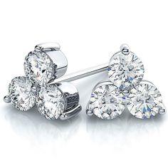 Suzy Levian 14k White Gold 3-stone Diamond Cluster 2/5ct TDW Stud Earrings