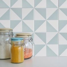 Looking for a #weekendproject? We love these tile tattoos from @mibostudio @notonthehighst #geometric #kitchenupdate