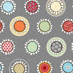 1 Yard of Funky Flowers Gray by ADORNit by SistersandQuilters, $9.10