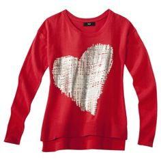 Mossimo® Women's Long Sleeve High-Low Sweater w/ Gold Foil Heart -Red