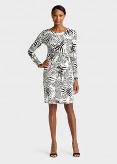 Nice lines on this dress by Lafayette 148. Petite Shadow Safari Jersey Long Sleeve Scoop Neck Dress