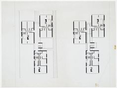 James Stirling and James Gowan - Plan for the three-storey block of flats, Ham Common Flats, London, England, 1955-1958.