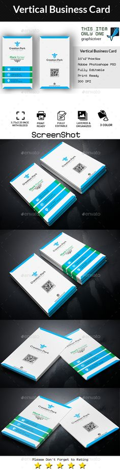 Vertical Business Card Template PSD