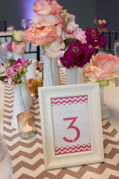chevron pink + charcoal wedding table number