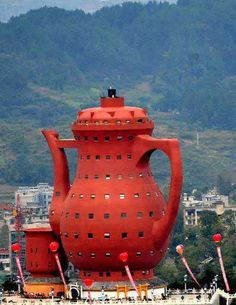 Meitan tea museum in China. This type of architecture may not be your cup of tea, and you might say you wouldn't want to visit this place for all the tea in China. But I suspect, once there, your reservations will turn out to be just a tempest in a teapot.