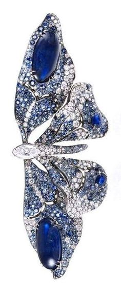 Cindy Chao 10th Anniversary White Label Collection Butterfly Brooch in White Gold with Sapphires and Diamonds. #GoldJewelleryModern
