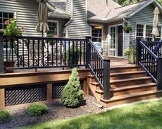 Deck railing isn't simply a security function. It can add a stunning visual to frame a decked location or porch. These 36 deck railing ideas show you just how it's done! Horizontal Deck Railing, Metal Deck Railing, Deck Railing Design, Patio Deck Designs, Railing Ideas, Deck Railing Planters, Decking Ideas, Fence Ideas, Door Ideas