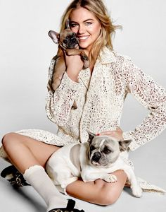 Kate Upton poses with cute puppies on Harper's Bazaar Singapore Magazine January 2016 issue Photoshoot