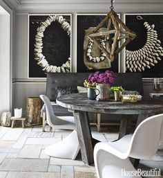 stone flagstone slate porcelain flooring ideas rustic tile trend country urban farmhouse cottage flooring design trends 2018 2019 barnwood flooring traditional black and white shop room ideas Dining Room Colors, Dining Room Walls, Dining Room Design, Room Chairs, Home Design, Floor Design, Design Design, Diy Décoration, Room Wall Decor