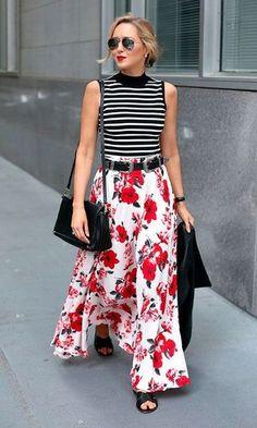 442feebd8f Look Mix de Estampas Regata Listrada + Saia Longa Floral Dicas De Moda