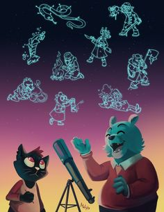 Dusk Stars by LynxGriffin on DeviantArt, beautiful stargazing illustration from Night in the Woods
