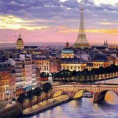 """""""Quai de Conti"""", de Liudmila Kondakova. #Paris #Eiffel #Yellow"""