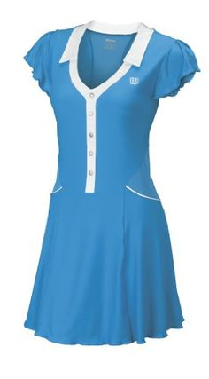 Wilson Short Sleeve Women's Tennis Dress – Cyan/White « Clothing Impulse    Who says you can't play hard and look good at the same time?