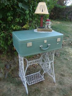 Vintage Suitcase Table- you dont have to sew to enjoy this piece!  Display it open or closed. Visit facebook.com/prophetbros or prophetbrosantiques.com to view this one-of-a-kind item & more!
