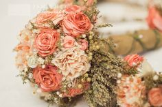 Bouquet made from coffee filter roses, this is clever but I'd have completely different colors.