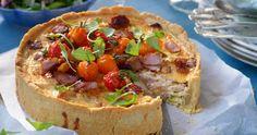 Paj med grillad kyckling och bacon recept
