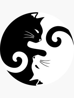 """""""Ying Yang Cats - Black & White"""" Stickers by MellowGroove Ying Y Yang, Yin Yang Art, Tattoo Gato, Black Cat Tattoos, Cat Wallpaper, Ying Yang Wallpaper, White Cats, Cat Drawing, Unique Tattoos"""