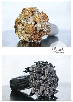 Wedding bouquets and accessories made from clay, crystals, brooches and feathers.