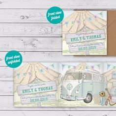 VW Camper Van Festival Inspired Wedding Invitation