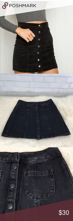 e9c9ad2dcdc High Waisted Black Denim Button Down Mini Skirt This is a Melville by Brandy  Melville high