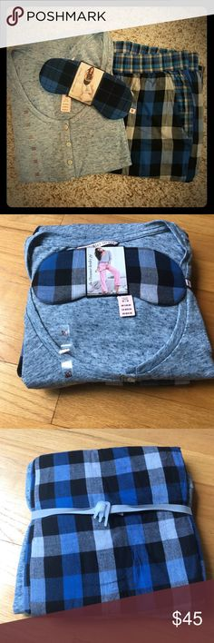 VS Dreamer Henley PJ Set M This NEW with tags pajama set from Victoria's Secret is all you need for a comfortable night in! Treat yourself with this GORGEOUS pj set that even includes a sleep mask! The light heathered blue top pairs well with the plaid blue bottoms. Perfect for a cozy sleep during the chilly nights, these pajamas won't disappoint! Snag this deal for your closet today! **note, first photo is stock photo, set is Size M** Victoria's Secret Intimates & Sleepwear