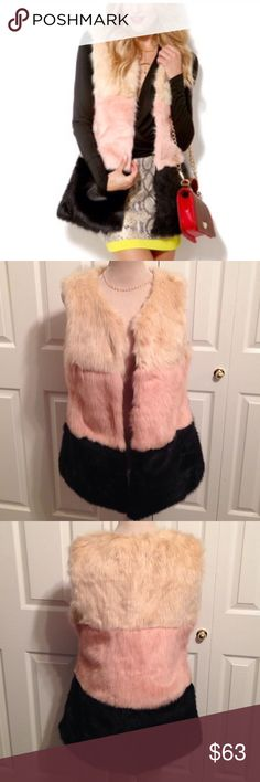 """Akira Chicago Black Label, Lined Faux Fur Vest Akira Chicago Black Label, Fully Lined Faux Fur Vest. Gorgeous Vest has 3 Sectional Colors of Brown, Light Pink & Cream with 2 Hidden Side Pockets. Has 5 Inside Eye Hook Closures to Wear Shut or Open. Chest is 38"""" Closed & is 28.5"""" Long. Looks Great to Wear Brown, Light Pink or Cream Short Sleeve or Long Sleeve Top Underneath it. Can Easily be Dressed up with a Skirt (shown on 1st Pic) or Dressed Down with Denim. This is Literally Brand New! Has…"""