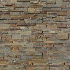 MS International Gold Rush Ledger Panel x Natural Slate Wall Tile : Slate Wall Tiles, Exterior Wall Tiles, Front Wall Tiles Design, Exterior Wall Design, Cement Tiles, Exterior Siding, Stone Mosaic, Stone Tiles, Ceramica Exterior
